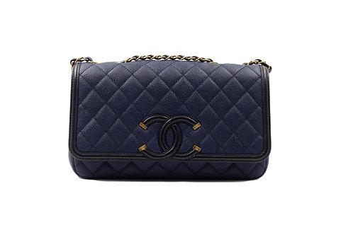 Chanel Filigree Navy Caviar Flap Bag