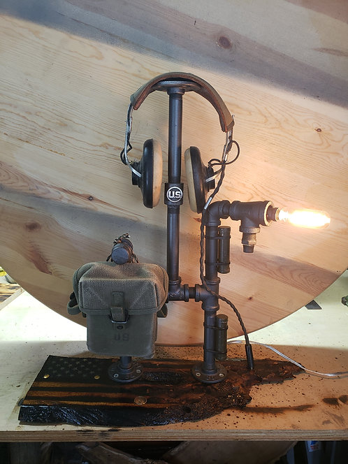 Military Lamp with Flag