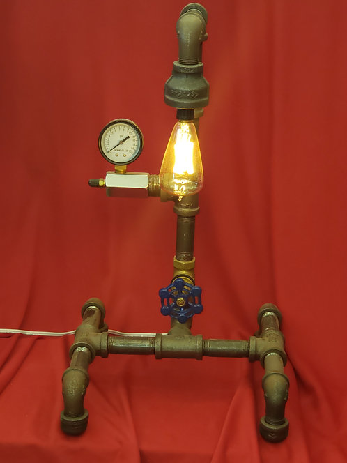 Long neck pipe lamp with gauge and turn switch