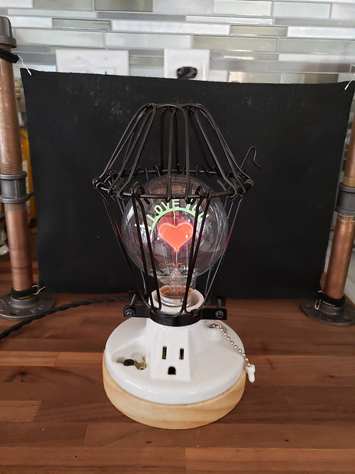 Cage Lamp with I Love You Bulb