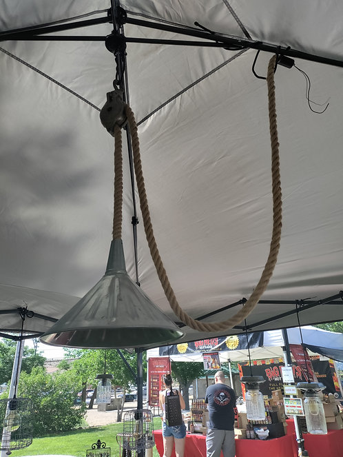 Silver Funnel on Old Pulley with Rope
