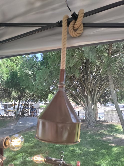 Copper Funnel Hanging Light with Rope