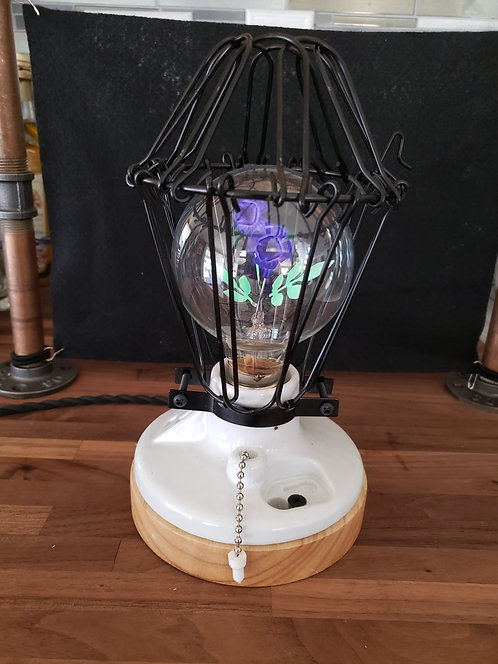Cage Lamp with Flower