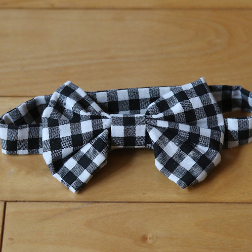 Black and White Gingham Kids Bow Tie