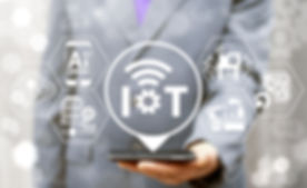 Internet of things (IoT) industrial business smart devices wifi tech concept. Intelligence mobile co