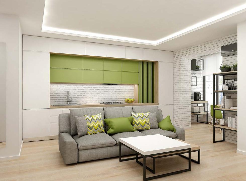 Зеленая кухня совмещенная с гостиной
