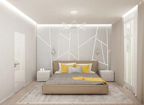 Дизайн спальни с декоративной панелью
