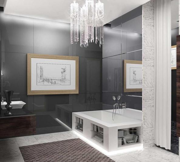 Дизайн черно белого санузла