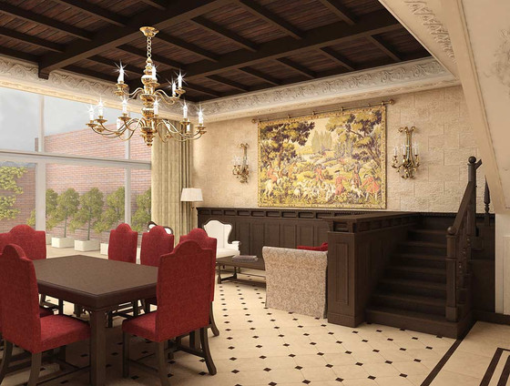 Дизайн зала с лестницей
