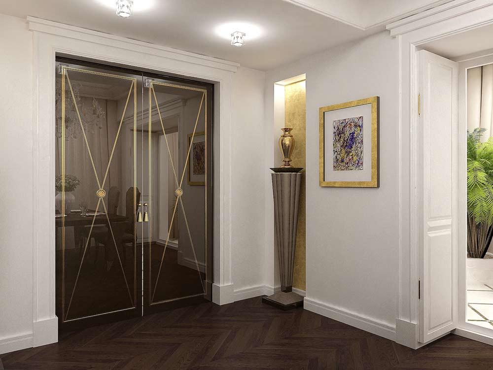 Раздвижные двери в интерьере кухни