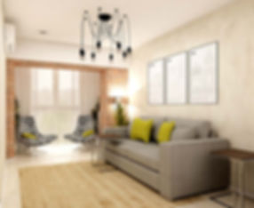Дизайн залы с окном