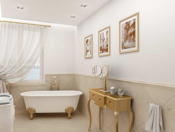 Дизайн санузла с напольной ванной