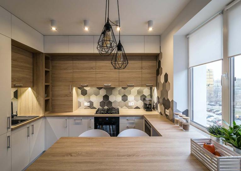 кухня окно дизайн в лофте
