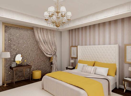 Дизайн гардероба в спальне за стеклянным панно
