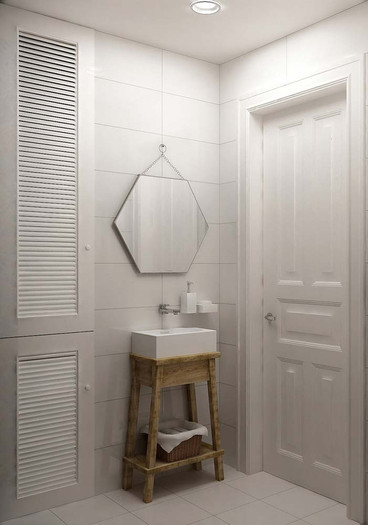 Дизайн туалета с зеркалом