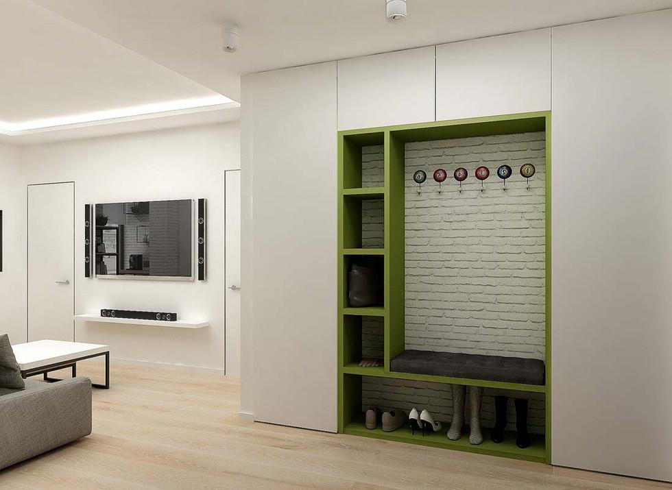 Зеленый шкаф в прихожей