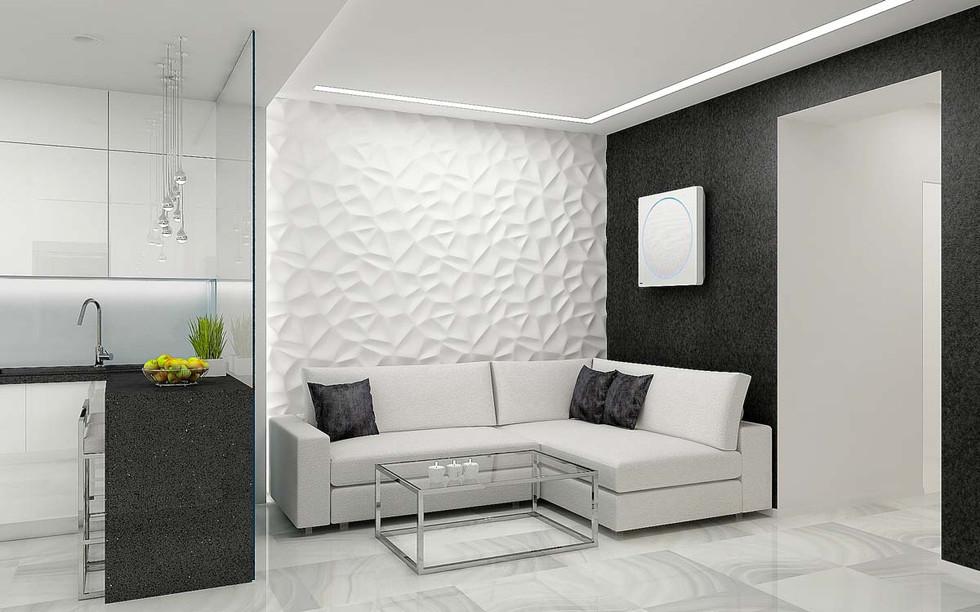 Интерьер квартиры в бело черных