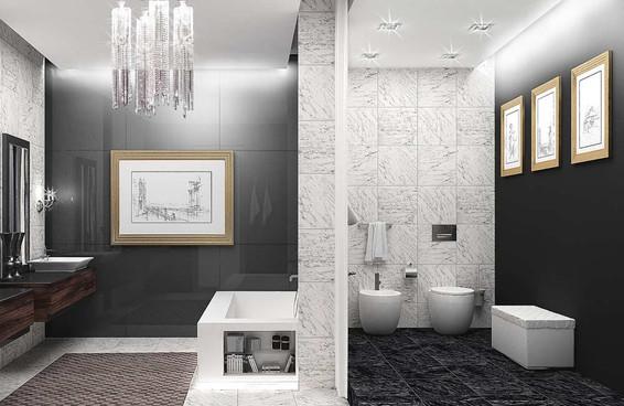 Стеклянные панели в дизайне ванны