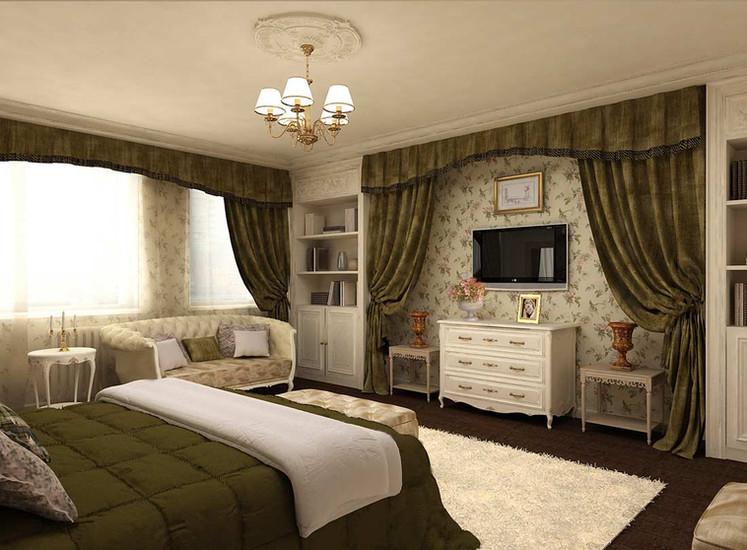 Зеленые шторы в интерьере спальни