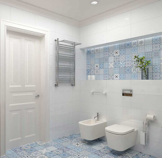 Голубой интерьер ванны