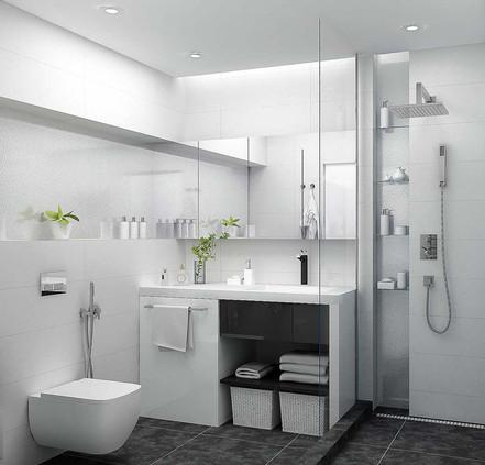 Черно белый цвет в интерьере ванной