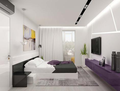 Дизайн спальни с фиолетовым акцентом