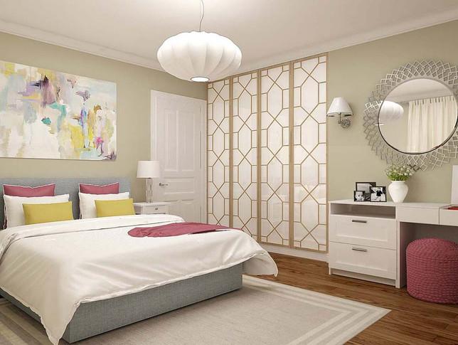 Дизайн спальни в квартире ж/к Салют