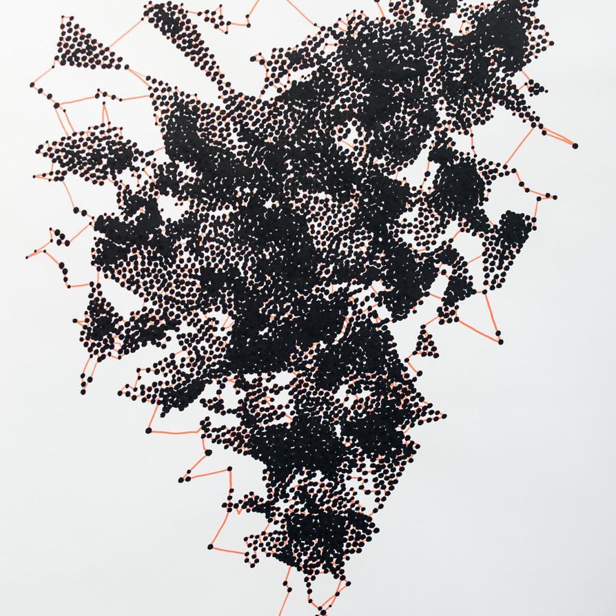 Hélène Jayet, 2020, Decade, acrylique, encre, feutre sur papier, 70 x 50 cm