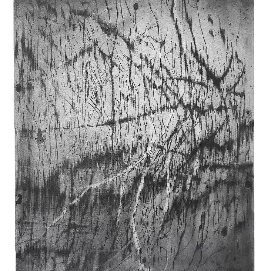 François Réau, 2018-2019, Et ce qui s'enflamme I,  mine de plomb et graphite sur papier, 46 x 38 cm