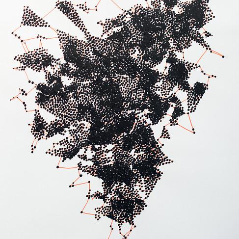 Hélène Jayet, 2020, Atomes 1, série Décade, acrylique, encre, feutre sur papier, 70 x 50 cm