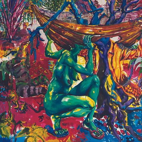Epheas Maposa, 2020, Mind Your Head!, huile sur toile, 180 x 205 cm