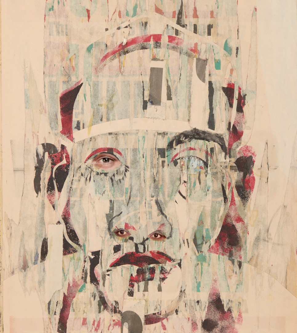 Evans T. Mutenga, 2018, Comrade, collage et technique mixte sur papier, 56 x 36 cm
