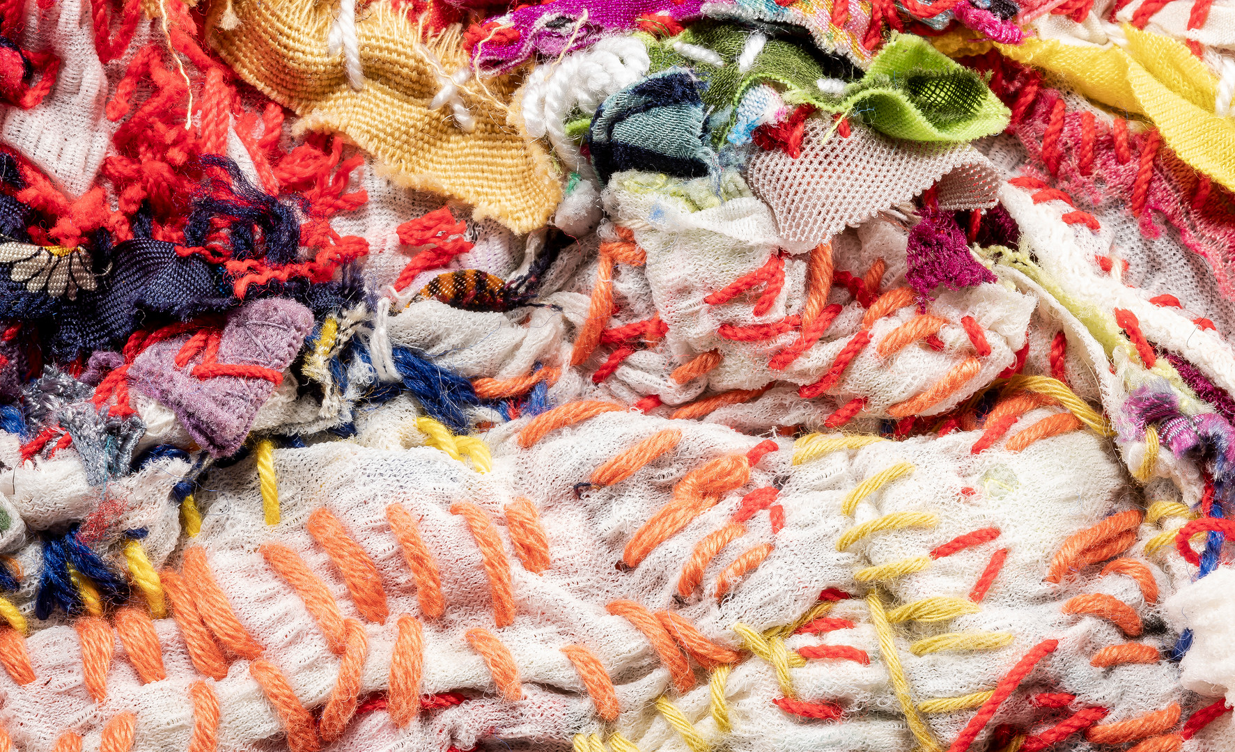Georgina Maxim, 2019, Shabby Agnes, textile, technique mixte, diamètre 160 cm. Détail