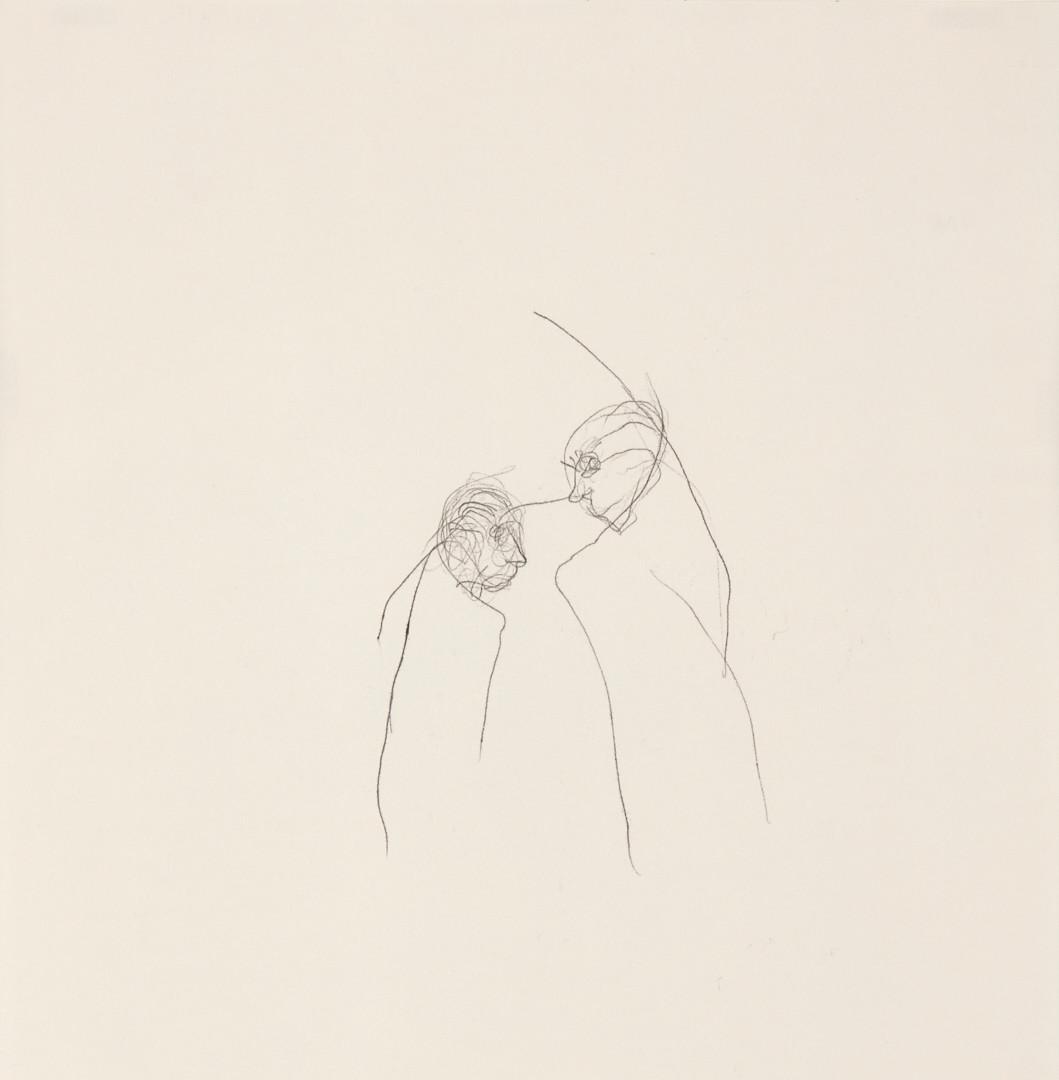 Misheck Masamvu, 2019, Thawing, crayon et encre sur papier, monotype, 42 X 30 cm