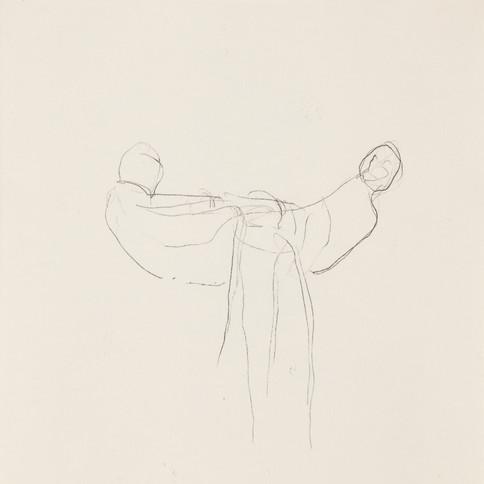 Misheck Masamvu, 2019, Pamasonga, crayon et encre sur papier, monotype, 42 X 30 cm