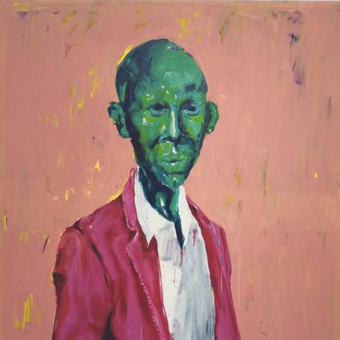 Epheas Maposa, 2020, End to End, huile sur toile, 132 x 89 cm
