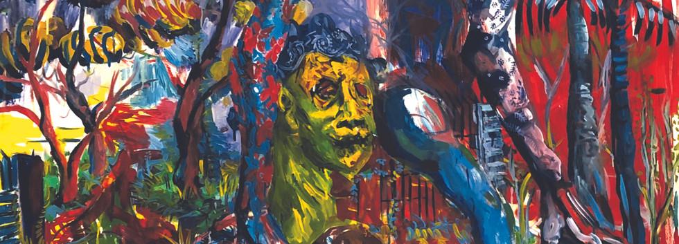 Epheas Maposa, 2020, Parenting Tendency, huile sur toile, 140 x 150 cm