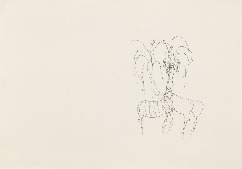 Misheck Masamvu, 2019, Bird bath, crayon et encre sur papier, monotype, 30 x 42 cm