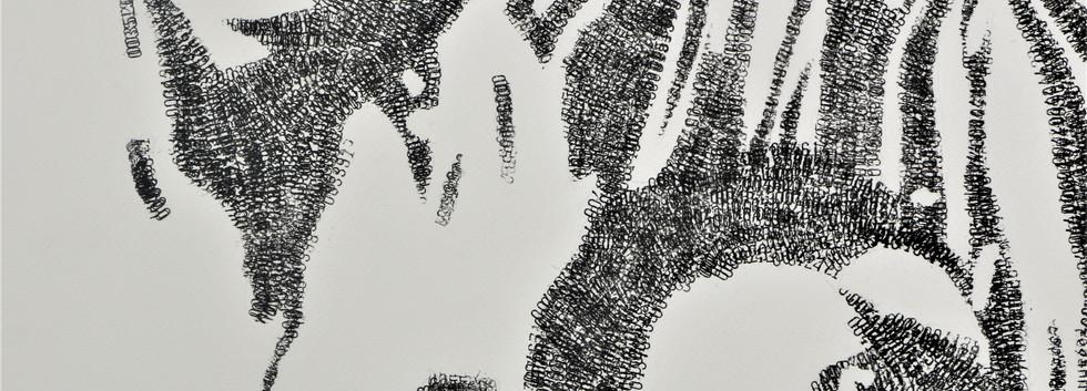 Kelani Abass, 2020, Stamping History, encre, tampon à numéroter manuel sur papier, 108 x 185 cm. Détail