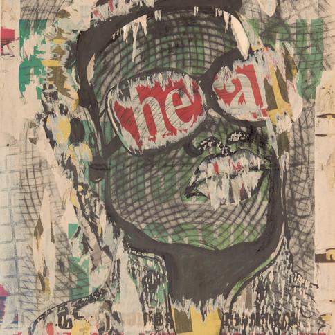 Evans Tinashe Mutenga, 2018, Comrade, collage et technique mixte sur papier, 56 x 36 cm
