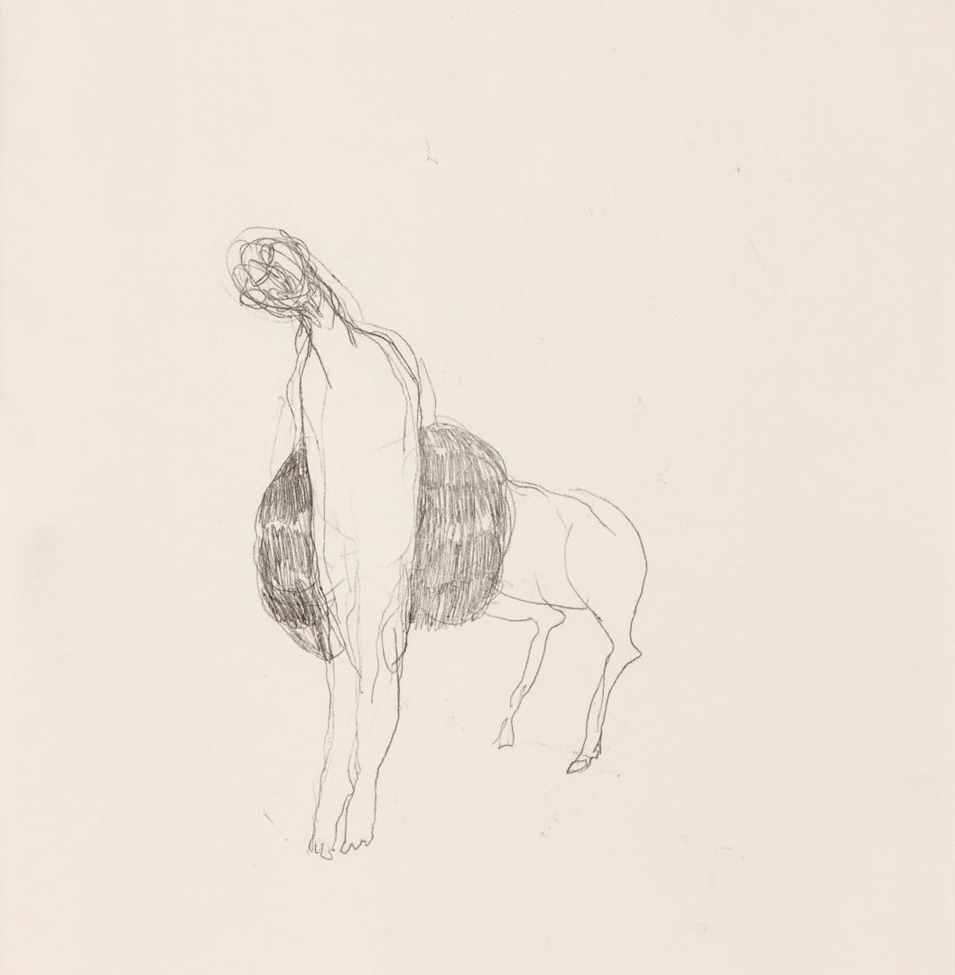 Misheck Masamvu, 2019, Shedding skin, crayon et encre sur papier, monotype, 42 X 30 cm