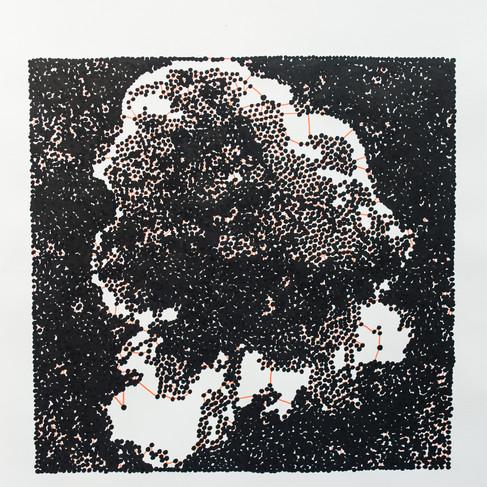 Hélène Jayet, 2020, Cloud 2, Série Décade, acrylique, encre, feutre sur papier, 70 x 50 cm