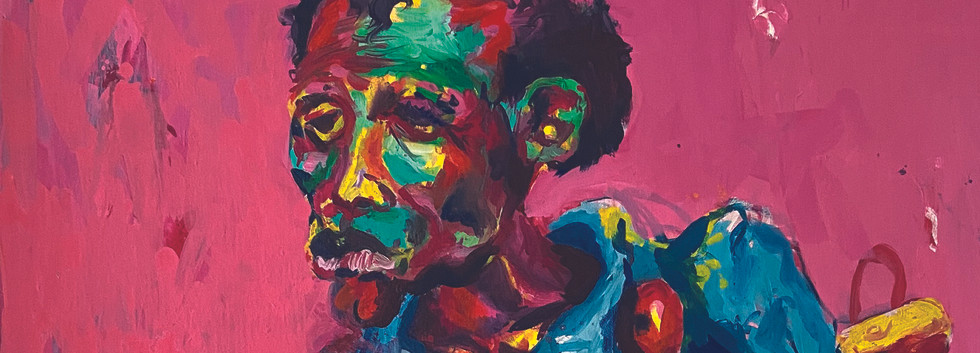 Epheas Maposa, 2020, Splash, huile sur toile, 135 x 83 cm