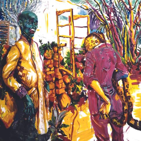 Epheas Maposa, 2020, It'€™s Just a Grim, huile sur toile, 148 x 141 cm