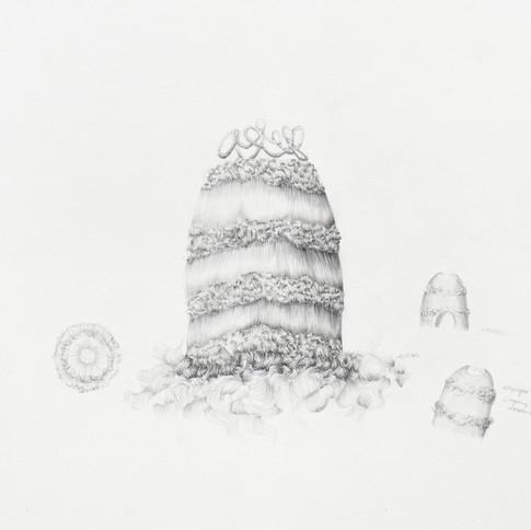 Temitayo Ogunbiyi, 2018, You will find playgrounds among palm trees, mine de plomb sur papier, 35 x 50 cm