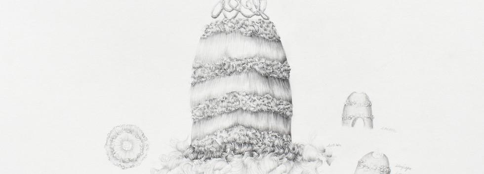 Temitayo Ogunbiyi, 2018, You will find playgrounds among palm trees, crayon sur papier, 35 x 50 cm