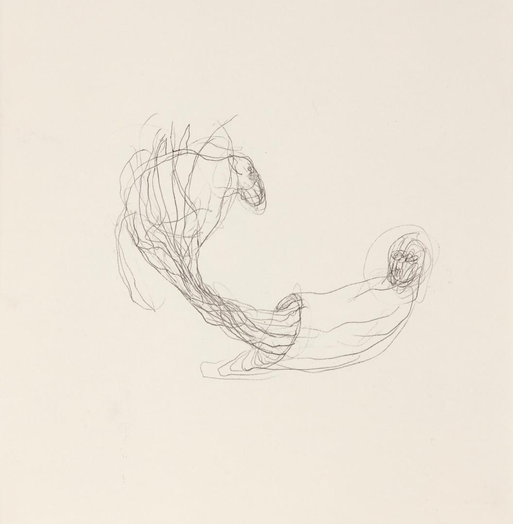 Misheck Masamvu, 2019, Scaffolding, crayon et encre sur papier, monotype, 42 X 30 cm