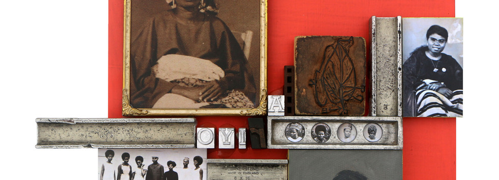 Kelani Abass, 2020, Scrap of Evidence (Ariyo), technique mixte sur bois (pièces d'imprimerie métalliques, huile sur toile, impression digitale, cadre, tampon en caoutchouc), 34 x 37 cm