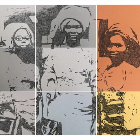 Kelani Abass, 2020, Stamping History (Iranti), encre, tampon à numéroter manuel sur papier, 93 x 129 cm
