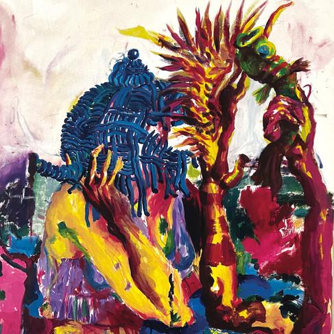Epheas Maposa, 2020, Family Descendants, huile sur toile, 160 x 93 cm